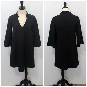 Mango Ruffle Collar Black Shift Dress with Pockets